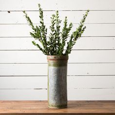 "Metal Canister - Magnolia Market | Chip & Joanna Gaines $42 DETAILS AND DIMENSIONS DIMENSIONS: 18"" X 7 3/4"" EACH CANISTER IS MADE FROM RECLAIMED METAL AND VARY IN MARKINGS AND COLOR. SOME ARE COMPLETELY SILVER, WHILE OTHERS HAVE LOTS OF COLOR."