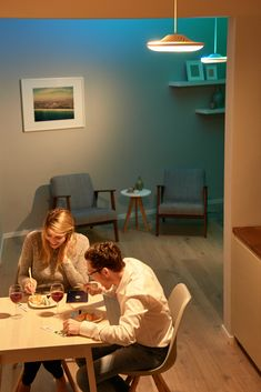 Enjoy mood lighting during dinner. With the Luke Roberts smart lamp you can set your living room or kitchen to any mood wanted. Luke Roberts, Smart Design, Models, Downlights, Lamp Design, White Light, Light Colors, Luxury Homes, Indoor