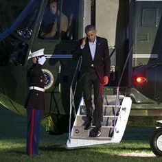 President Obama touches down with Marine One on the South Lawn of the White House in Washington