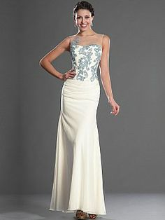 Full Length Mermaid Evening Dress Features Appliqued Sheer Bodice - USD $149.65