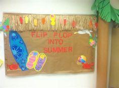 Flip flip summer and Hawaiian themed bulletin board idea for preschool, kindergarten, and elementary grades. http://www.mpmschoolsupplies.com/ideas/4832/flip-flop-into-summer-bulletin-board-idea/