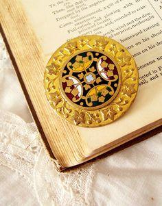 Christiana - Antique Victorian Renaissance Revival Brooch made of a Gilt Enamel Button
