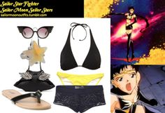 Like Sailor Moon Outfits on Facebook! Requested by: Anonymous Forever 21 natural star ring in Silver/Clear Charlotte Russe patent wide strap flip flop in Black Charlotte Russe solid color bikini bottom in Yellow Topshop black triangle bikini top Billabong crochet short cover-up in Black Sheinside black PU wing beading shoulder bag Jeremy Scott black wings sunglasses