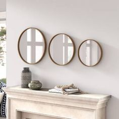 Polaris Large Framed Wall Mirror & Reviews | Joss & Main Set Of 4 Wall Mirrors, Mirror Set, Frames On Wall, Framed Wall, Wooden Frames, Round Wood Mirror, Beveled Mirror, Beveled Glass, Mirror Backsplash