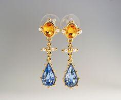 CAMROSE & KROSS JBK Jacqueline Kennedy Blue Tear Drop Dangle Rhinestone Earrings #CamroseKross #DropDangle #JBK