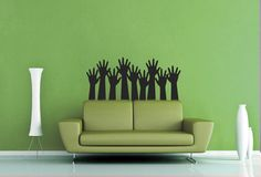 Reaching Hands Silhouette Wall Decal