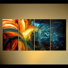 "Original Contemporary Abstract Painting Original Large Colorful Painting Blue by Osnat - MADE-TO-ORDER - 60""x30"" on Etsy, $570.00"