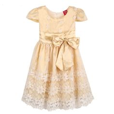 Summer Girl Dress Champagne / Green Glass Lace Belt Party Pageant  Bridesmaid Princess Child Clothing SZ 4-12 $16.99 - 18.99