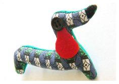 Sausage Dog Brooch - Ready For A Walk - Retro Geometric Cotton Fabric -  Dachshund Brooch With Black Button Eye - Animal Fabric Brooch