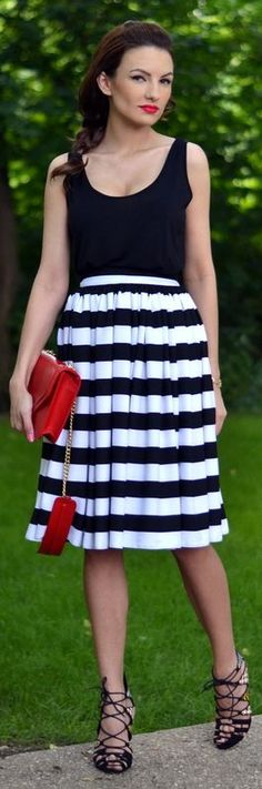 Fairytale Collection Shop Black And White Midi Pleated Striped A-skirt by My Silk Fairytale