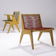 Anonymous; Maple and Elastic Cord Chairs by Kingston Manufacturing Corporation, c1950.