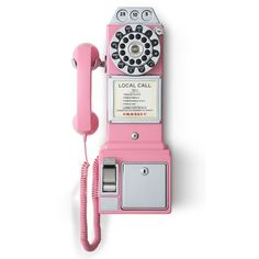 Crosley Radio 'Pay Phone' Wall Phone ($70) ❤ liked on Polyvore featuring home, home decor, phones, filler, pink, retro home decor and pink home decor