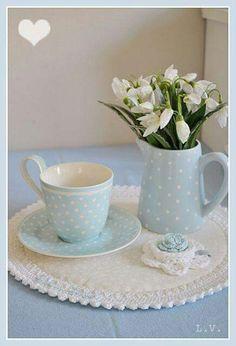 Precious baby blue and polka dot tea set