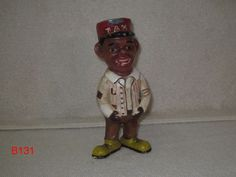 VINTAGE CAST IRON STILL BANK TAXI CAB DRIVER BOY BLACK AMERICANA UNIQUE PIECE!!!!!!!  ANOTHER ITEM ON AUCTION THIS WEEK!!!!!