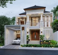 Lusi Private House Design - Cikarang, Bekasi- Quality house design of architectural services, experienced professional Bali Villa Tropical designs from Emporio Architect. Classic House Exterior, Classic House Design, Duplex House Design, House Front Design, Luxury Homes Dream Houses, Dream House Interior, Bali House, House 2, Beautiful House Plans
