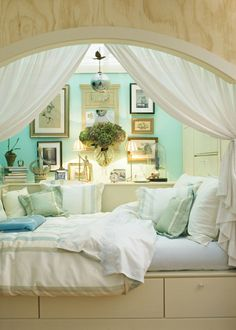 such a romantic space. nook, turquoise and cream,