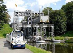 UNESCO World Heritage Site.                               Boat lift on Center Canal in La Louvière, BELGIUM
