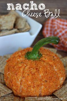 Pumpkin Shaped Nacho Cheese Ball- cute idea for a Halloween party or Thanksgiving Cheese Ball Recipes, Appetizer Recipes, Snack Recipes, Appetizers, Cooking Recipes, Thanksgiving Recipes, Holiday Recipes, Holiday Foods, Holiday Treats
