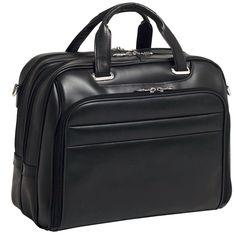 "McKlein USA SPRINGFIELD R Series Leather Fly-Through 17"" Briefcase in Black"