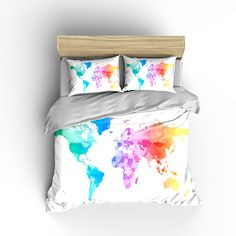 Custom Bedding Duvet Cover-Watercolors on Natural Cream World Map - Tw, Qu or Ki, Pricing Starts Shams