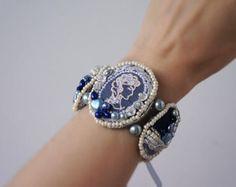 Shabby Chic Cameo Bracelet, Necklace, indigo and blue denim, lace, pearl, bohemian glass