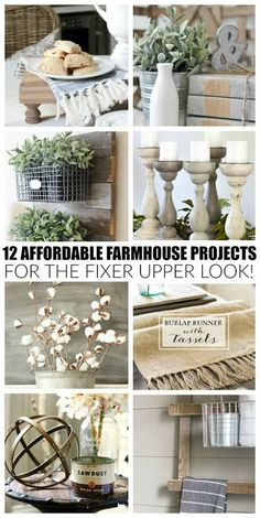 These beautiful projects are easy, affordable and will give your home the perfect touch of farmhouse style. #modernfarmhouse Casas Shabby Chic, Shabby Chic Vintage, Shabby Chic Homes, Farmhouse Side Table, Country Farmhouse Decor, Farmhouse Style, Kitchen Country, Farmhouse Plans, Diy Kitchen