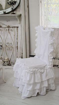 shabby chic style chair slipcover, white ruffle chair pads,