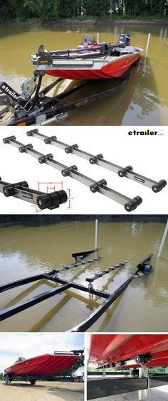 D-L roller bunks provide a quick, easy, and inexpensive way to upgrade bunk-style trailers to rollers. Features rubber rollers with durable, wear-resi Jon Boat Trailer, Boat Trailer Parts, Trailer Diy, Trailer Plans, Bass Boat Ideas, Fishing Boat Accessories, John Boats, Small Fishing Boats, Boat Restoration