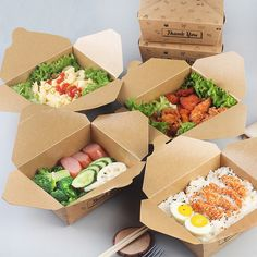 Kraft Paper Food Meal Box Food Container Lunch Breakfast Take-out Bowl Fruit&snack Carry-on Holder With Lid Waterproof Salad Box Salad Packaging, Food Packaging Design, Paper Packaging, Food Design, Design Ideas, Restaurant Healthy, New Fruit, Fruit Box, Fruit Fruit