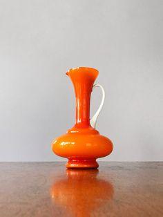 Glass Pitchers, Cape Town, Mid Century, Handle, Vase, Orange, Vintage, Vintage Comics, Vases