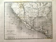 1868 Antique MEXICO And GUATEMALA Map Steel Engraving Original Fine White Black Print Of Old America Illustration