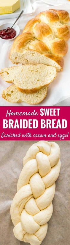 Braided Bread is one of my favorite recipes to bake for Easter but it tastes great all year round! It's delicious with butter and jam on top and leftovers are perfect for making french toast or bread pudding. This easy sweet braided yeast bread is soft, slightly sweet, and enriched with eggs and heavy cream for a tender crumb! #easter #easterbread #braidedbread #yeast #sweetbread #braidedloaf #osterzopf #hefezopf #braidedyeastbread #baking #easterbaking #easterrecipes
