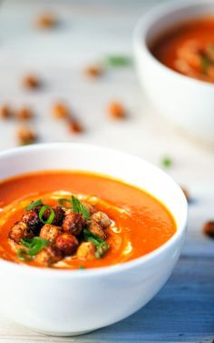 Tomato Ginger Soup with Crunchy Chickpeas Recipe. #glutenfree #soup