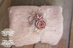 "2  item Dusty Pink stretch lace stretch lace 12""x55""  swaddle+ Beautiful satin roses headband newborn swaddle Babys 1st Photo"