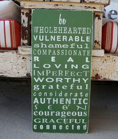 Brené Brown-inspired sign by barnowlprimitives on Etsy