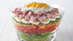 Easy Layered Salad Recipe Ingredients 4 cups mixed salad greens 2 tomatoes, chopped (about 2 cups) 2 cups ounces) shredded Cheddar cheese, divided Read more › Sunday Recipes, Easter Recipes, Holiday Recipes, Brunch Recipes, Mayonnaise, How To Cook Potatoes, How To Cook Eggs, Easy Salad Recipes, Easy Salads