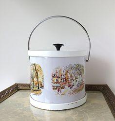 Mid Century Ice Bucket with Puillery Scenes of Paris