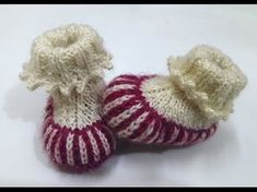 Make two colour baby booties with picot ending- easy method with written pattern - YouTube