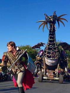 Prince Phillip and Maleficent Dragon Disney Land, Disney Parks, Walt Disney World, Disney Pixar, Disney Characters, Maleficent Dragon, Festival Of Fantasy Parade, Space Mountain, Prince Phillip