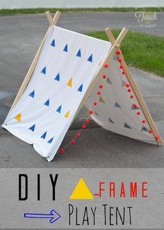 DIY A-Frame Play Tent {Tutorial} Simple design, clear instructions. Might need to add something to stop it collapsing. A Frame Tent, Diy Frame, Diy For Kids, Crafts For Kids, Diy Crafts, Dog Tent, Deco Kids, Kids Tents, Slumber Parties