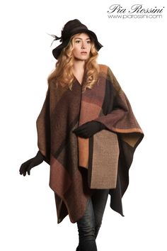 Autumn Wrap, Cassandra Hat & Hope Glove www.piarossini.com  Autumn Winter Wrap, Hat, Gloves. #Rust #Orange #Brown #Wool #Leather #Suede #Feather #Trend #Style #Fashion #Accessories #Woman's Apparel