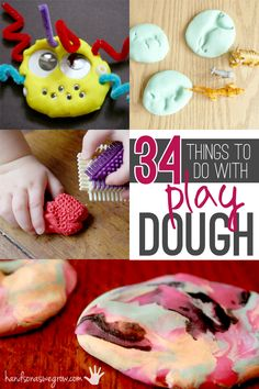 Playdough will never be boring again. I always wonder what can we make from playdough now? I searched and found 34 things to do with playdough! Cutting Activities, Playdough Activities, Motor Activities, Preschool Activities, Indoor Activities, Play Doh, Pretend Play, Toddler Fun, Toddler Crafts