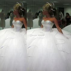 2014 Bling Bling Big Poofy Wedding Dresses Custom Made Plus Size Tulle Ball Gown Beads Crystal Vestidos De Novia Puffy Ballgown Dress Online with $146.86/Piece on Hjklp88's Store