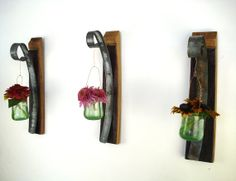 Wall Hanging Candle / Flower Holders  - 100% recycled glass and Wine Barrels.