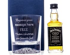 Engraved Crystal Glass + Miniature Jack Daneils