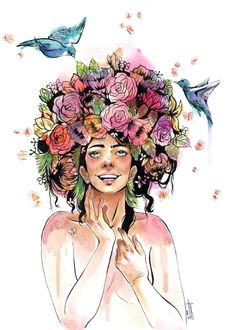 Spring by Zyra Banez. flowers, girl, watercolour, spring, birds, butterflies, nature. Worldwide shipping available at Society6.com. Just one of millions of high quality products available.