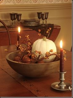 Beautiful fall centerpiece- awesome for thanksgiving Autumn Decorating, Decorating Ideas, Primitive Fall Decorating, Decor Ideas, Simple Centerpieces, Candle Centerpieces, Wedding Centerpieces, Fall Table, Wooden Bowls