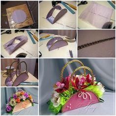 DIY Beautiful Handbag Style Flower Basket from Cereal Box 3