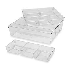 Maximize your storage space with this 3-Piece Clear Organizer. It can easily fit in most drawers or closet spaces and has plenty of interior room for your office or home items. Also great for the bathroom, garage, or children's room.