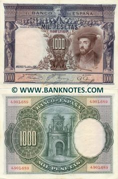 Spain 1000 Pesetas 1925 Front: King Charles V (I) in 1536; Portrait extract of painting by Titian (Tiziano Vecelli). Old Gorgon head growing vegetables from his mouth. Male and female Atlantes in portico columns and holding the denomination along with eagle. Back: Central door at Alcázar de Toledo. Watermark: Isabella of Portugal in profile. Printer: Bradbury, Wilkinson & Co. Ltd., New Malden, Surrey, Inglaterra. Date of Issue: 1 July 1925.